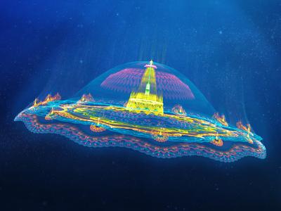 Kingdom at the sea cloudarts city sealife fantasy kingdom animation apophysis