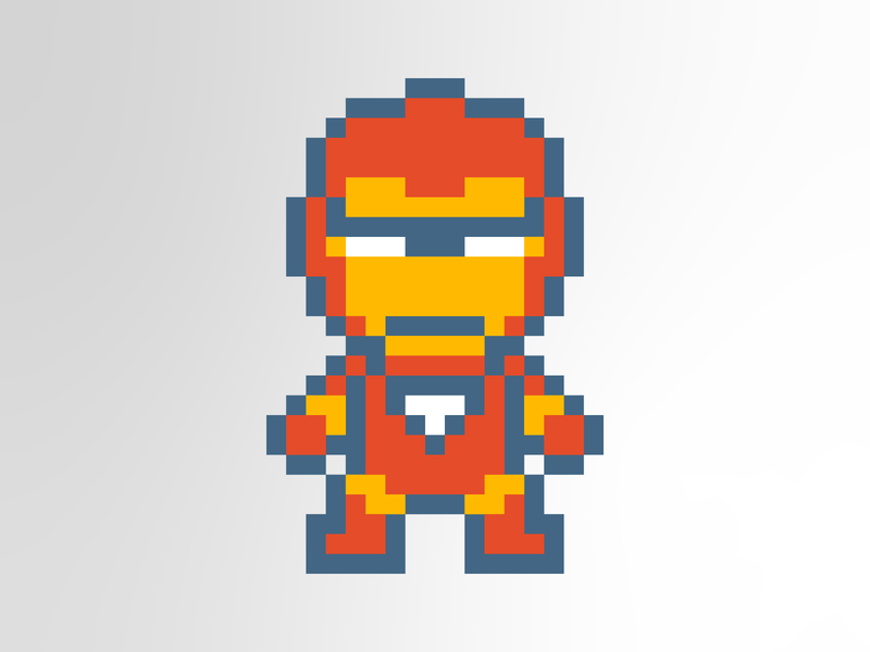 Iron Man Retro Pixelart pixel art ironman vector retro design design marvel retro pixelart illustration