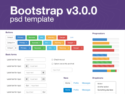 Bootstrap V3.0.0 ui kit ui bootstrap psd free webdesign forms freebie css3 html button slider