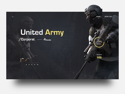 Game characters web corporal army united gun soldier game ux ui