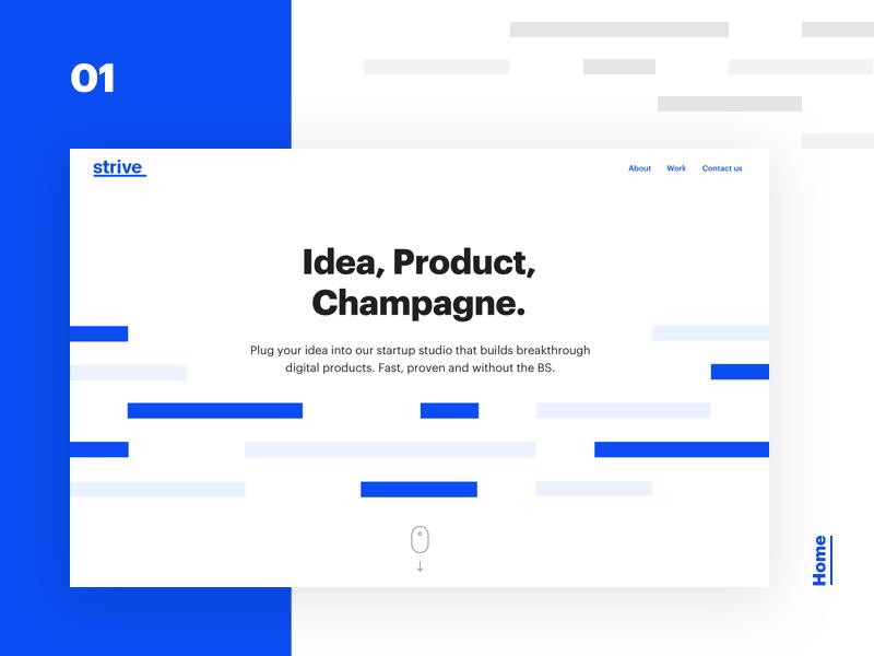 Strive case study - 01 - Branding & Homepage illustration webdesign hero landing web ui ux branding minimalism typography white startup