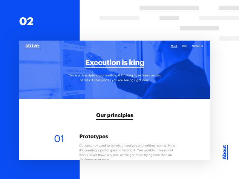 Strive case study - 02 - About tech webdesign icon design web ui ux branding minimalism typography white startup