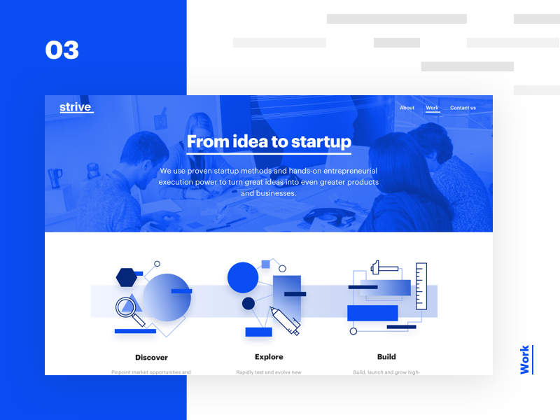 Strive case study - 03 - Work tech webdesign illustration web ui ux branding minimalism typography white startup
