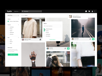 EyeEm - Lightboxes concept product design photography interface wishlist web startup white typography minimalism branding ux ui