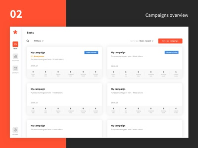 Greps case study - 02 - Test campaigns overview dashboard webdesign design interface tech product design typography startup web minimalism ux ui