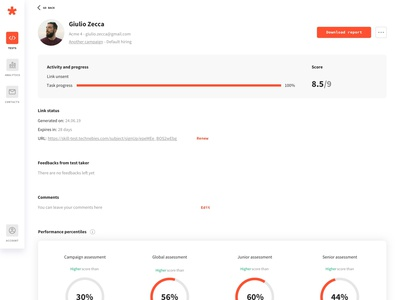 Greps case study - 05 - Test taker detail page dashboard design interface tech product design typography startup web minimalism ux ui