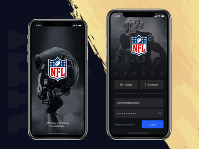 NFL application (Login) iphone x sport nfl loading screen login app mobile app design ux ui interface