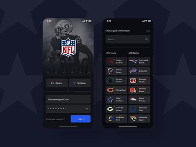 NFL application animation mobile app design ux interface ui