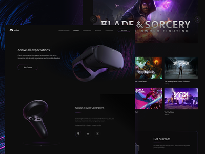 Oculus landing page landing page home page design product page web design ux interface ui