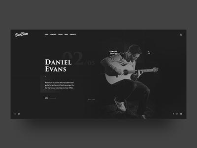 Daniel Evans website onepage homepage guitarist music