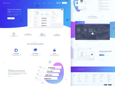 Homepage for Pandemic AI application whitespace product page landing page web application interface ui ux web design