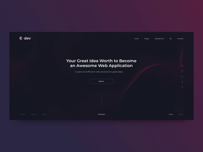 Cdev design studio motion design ux interaction animation design home page product page one page interface uxui ui web design