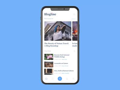Blogline app product iphonex app interaction news blog mobile app ios animation design ux uxui ui interface