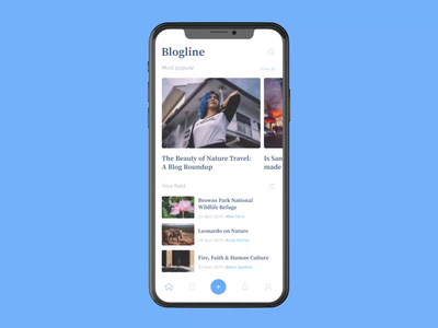 Blogline app product iphonex app interaction news blog mobile app ios animation design ux uxui ui interface