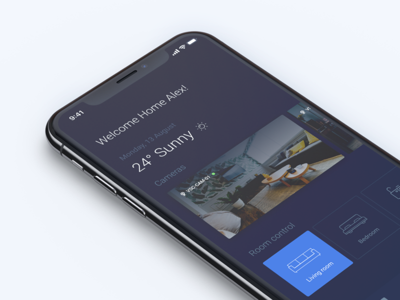 Smart house (home) interaction home screen iphonex interface smart house app mobile app ios product page design ux ui