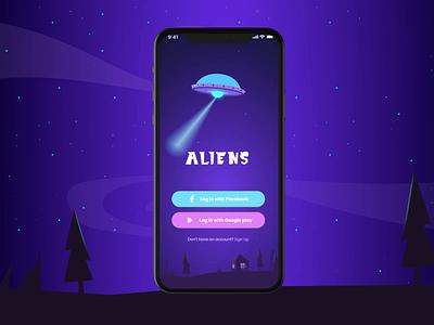 Aliance game app sing up login aliens game animation vector illustration mobile app interaction design ux ui web design