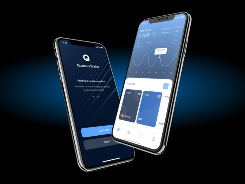 Quantum Wallet banking cards login application mobile app uxui ux ui interface