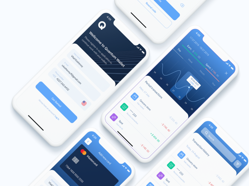 Quantum Wallet p.2 application product iponex interface mobile app login graph transactions iphonex ios mobile cards banking app interaction design uxui ux ui