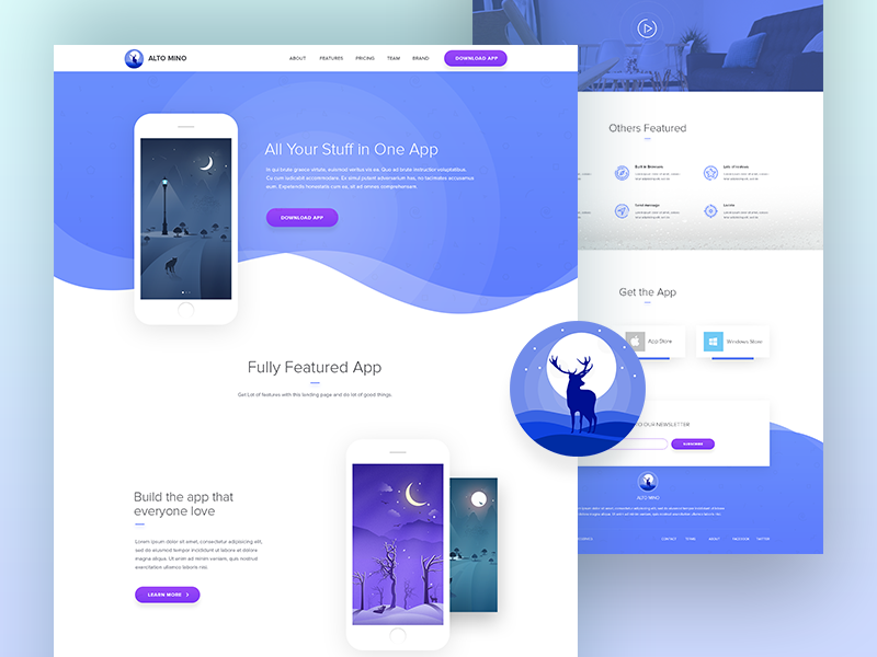 Landing Page Design for Mobile App purple clean dribbble best shot web landing page design ux mobile ui landing page mobile app mobile
