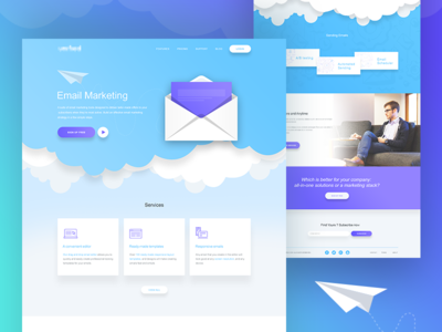 Email Marketing Landing Page (concept) landing page campaign newsletter sky startup marketing email marketing landing page email marketing email illustration