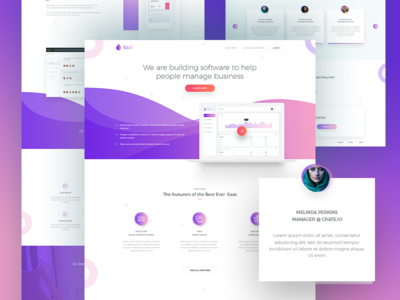 SaaS Software Landing Page  V2 web ui software saas service saas landing page saas application saas app saas psd long shadow landing page clean