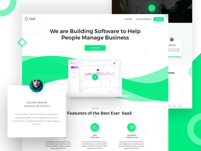 SaaS Software Landing Page V3  web software ui saas service saas landing page saas application saas app saas psd long shadow landing page clean