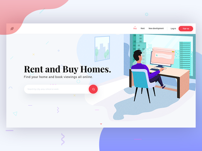 Realty Landing Page concept design (WIP) trend 2017. landing page design rent and buy home realty