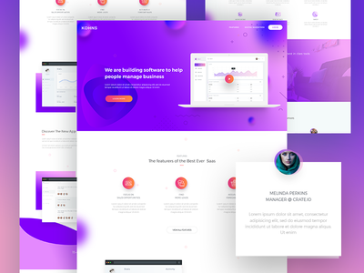 Saas Landing Page V4 web ui software saas service saas landing page saas application saas app saas psd long shadow landing page clean