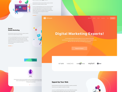 Seo Landing Page illustration search engine optimization seo trend 2018 marketing landing page digital marketing marketing saas landing page landing page gradient