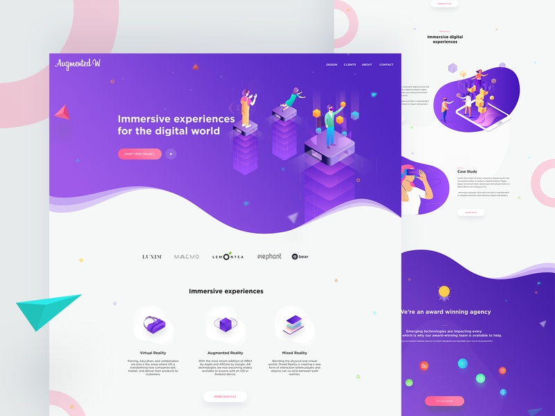 Augmented reality web concept work trend 2018 gradient landing page 360 video mixed reality illustration ar virtual realtiy augmentedreality augmented vr