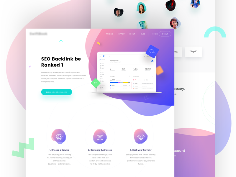 SEO Backlink Services Landing page sketch google seo google adwords google ux ui web trend 2018 saas service saas application saas colorful typography landing page illustration saas landing page gradient search engine search engine optimization seo
