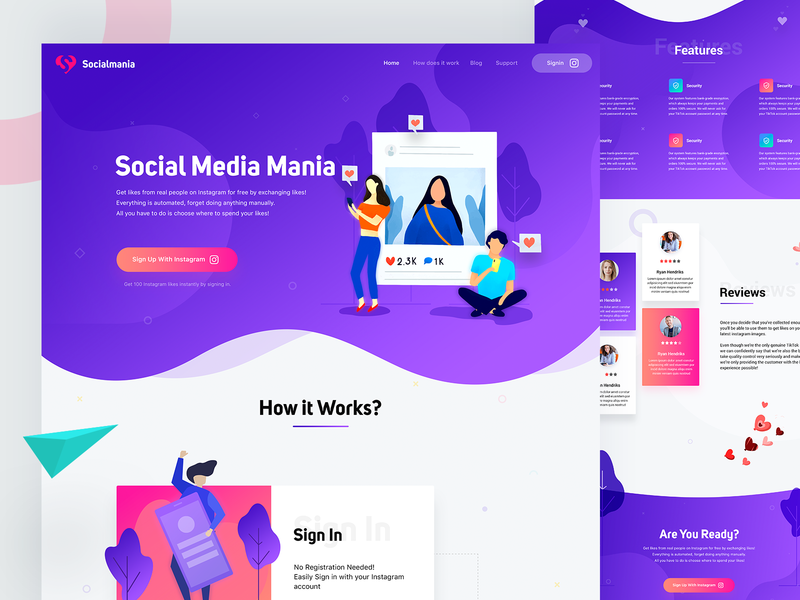 Social Media Marketing Landing Page instagram trend 2018 marketing automation marketing campaign marketing agency illustration landing page web gradient social campaign marketing landing page social app social media marketing social