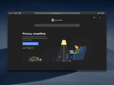 New Homepage illustration dark theme homepage privacy web