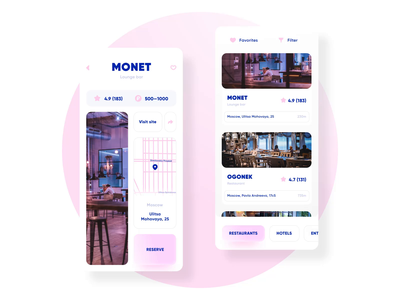 Restaurant finder app design animation search map booking food restaurant mobile app ui