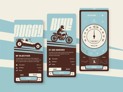 Rent app concept buggy bike application rent interface ui animation mobile