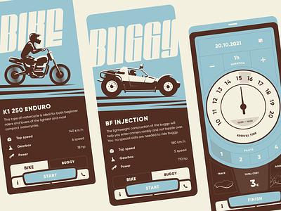 Rent app concept buggy bike application rent interface ui animation mobile