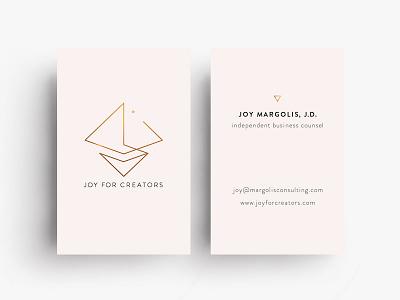 Business Card Design for Joy For Creators graphic designer graphic design business card branding card application minimalist triangles logo