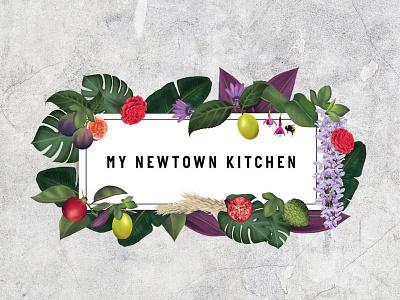Logo and illustrations for My Newtown Kitchen graphic designer graphic design wellness floral plants nature food fruit illustration illustrator branding logo