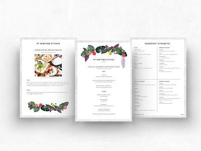 Menu & layout designs for My Newtown Kitchen graphic design graphic designer nature menu print publication plants food illustrator illustration logo branding