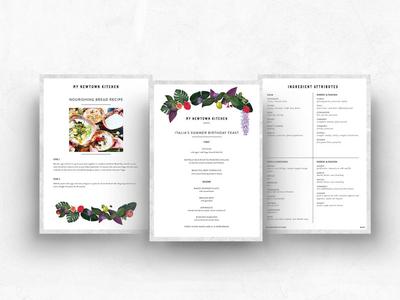 Menu & layout designs for My Newtown Kitchen