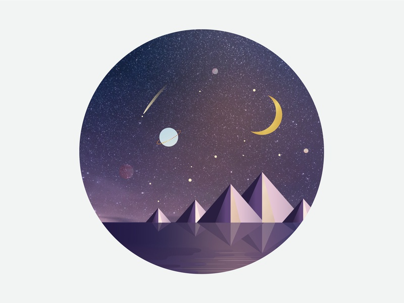 Night Owl Illustration evening wanderlust pyramids ocean stars moon phases planets night illustrator nature illustration