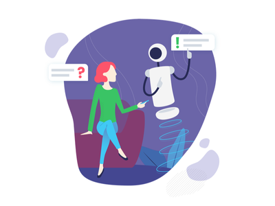 Chatbots data science social bot flat character assistant interface robot big data illustration chat chatbot