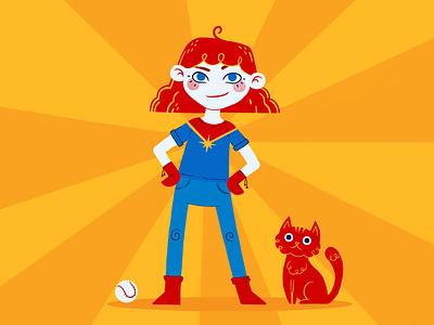 Little Captain Marvel primary colors womans day woman marvel procreate app procreate flat illustration
