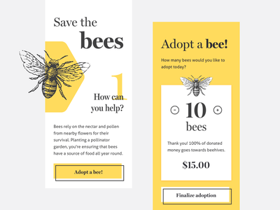 Save The Bees vintage minimal concept picker yellow bee donate button design flat donation design ui mobile interface