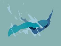 Flying art fly drawing blue digital art water vector illustration