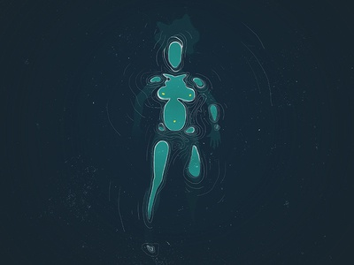 Ya fui isla woman girl female wave sea blue vector illustration island
