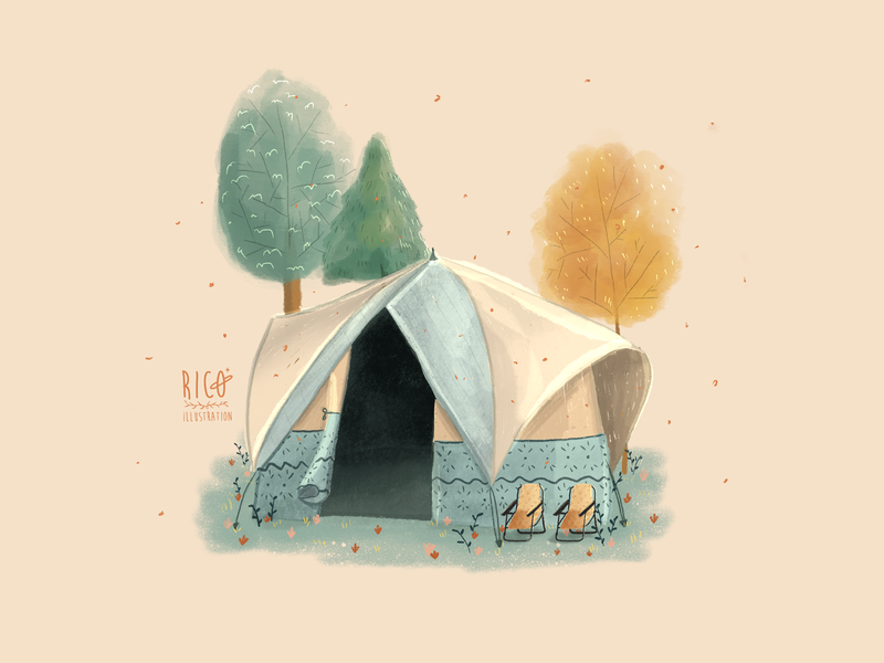Tent camping tent procreate drawing art digital painting illustration digital art