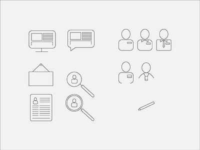 Blog Posts, Employees, & Job Listings, Oh my! illustrator drawing icon set iconography icon mark illustration graphic design design