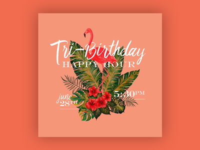 Tri-Birthday Happy Hour - Save The Date graphic design typography invitation print layout design