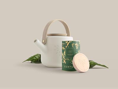 Nimboo Guayusa | Packaging Design teapot food product drink graphic design bird luxury gold green oragnic texture pattern guayusa tea branding logo corporate design packaging packaging design